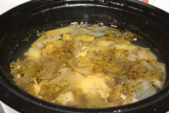 Broth after 4 hours of simmering in crockpot