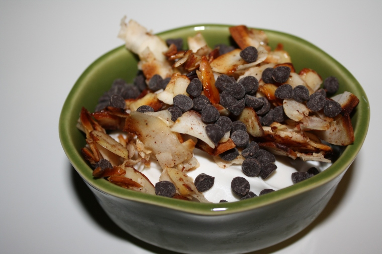 Coconut-Honey Mousse with Toasted Coconut, Almonds & Dark Chocolate Chips
