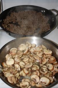 Saute mushrooms and meat