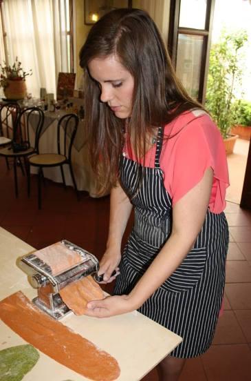 Pressing fresh tomato pasta