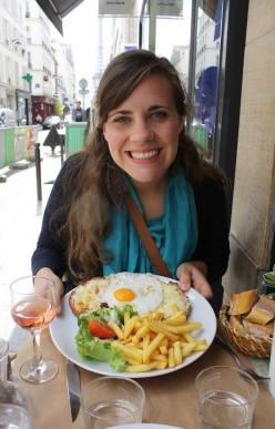 Enjoying a Croque Madame in Paris - if you look closely, you'll see the Eiffel Tower behind me!