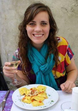 Seafood Ravioli and a glass of local wine in Monterosso, Cinque Terre